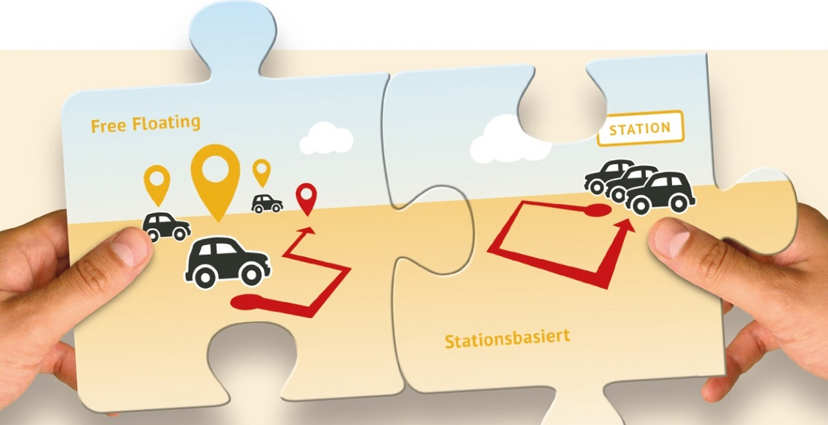Kombinierte CarSharing-Angebote verbinden die Vorteile von free-floating und stationsbasierten Modellen(Grafik: bcs)