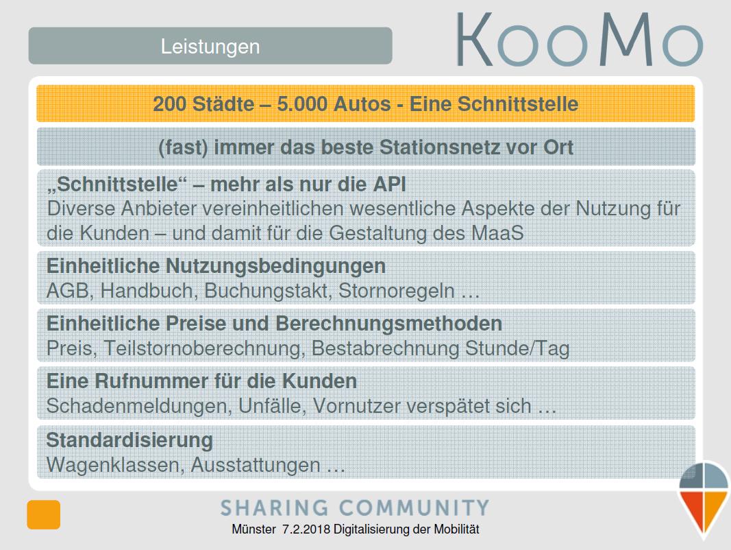 KooMo: Vereinheitlichung ohne Eingriff in die einzelnen CarSharing-Angebote (Quelle: KooMo)
