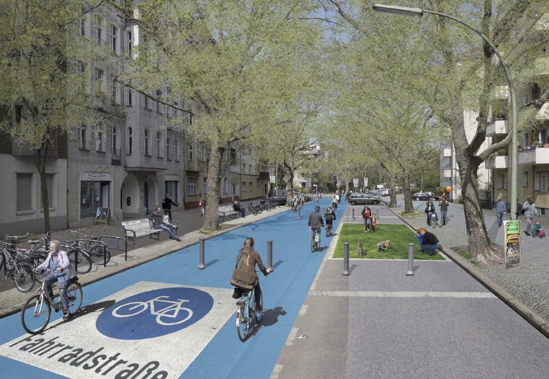 So sollte eine Fahrradstraße aussehen dürfen (Darstellung: Volksentscheid Fahrrad)
