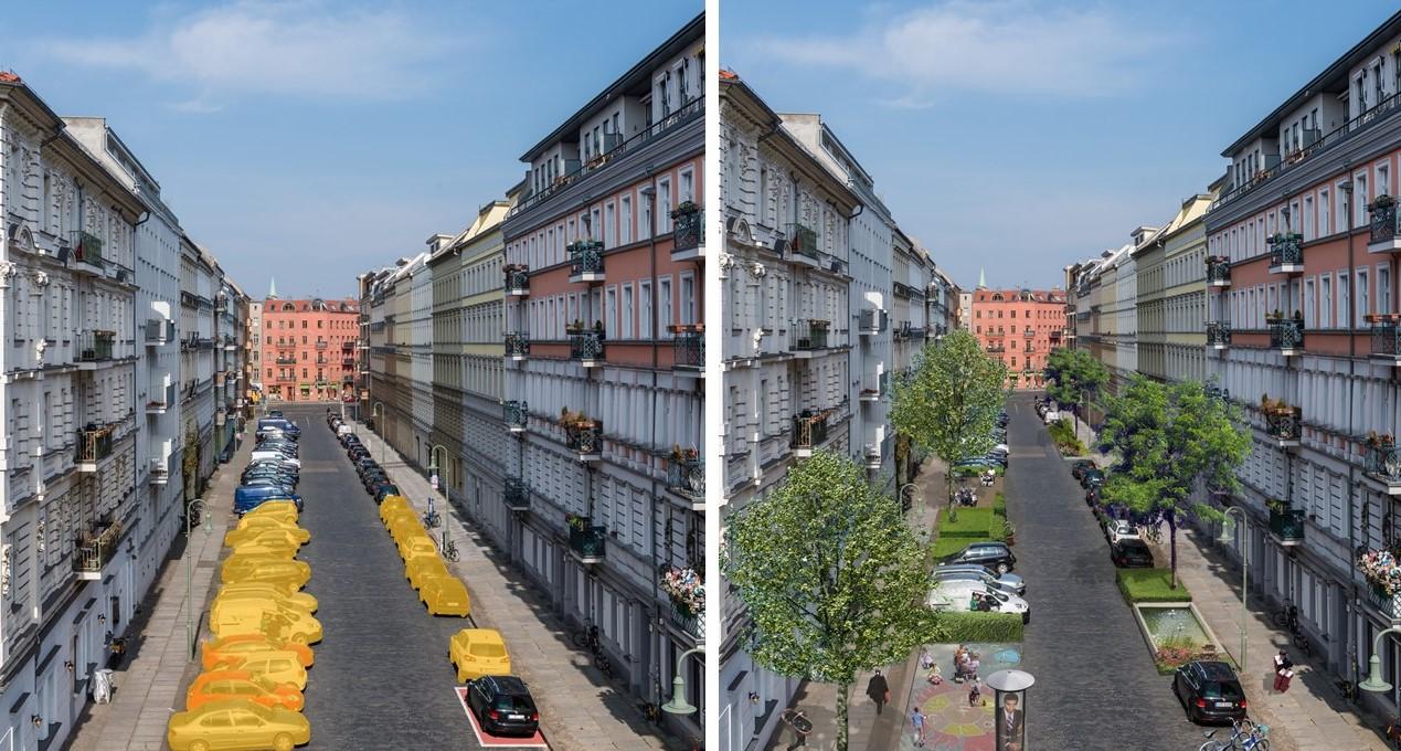 Frei werdende Fläche: Ein CarSharing-Fahrzeug ersetzt in innerstädtischen Wohngebieten zwischen 8 und 20 private Pkw (Darstellung: bcs)